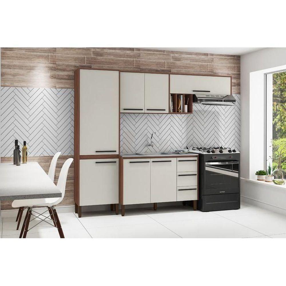 Cozinha Compacta Kit's Paraná Venice com Balcão, Nogueira / Off White