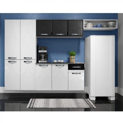 Cozinha de Aço Telasul Rubi c/ Balcão Preta e Branco