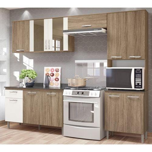 Cozinha Nicioli Fit MDP c/ Balcão Carvalho Rustico/Off White