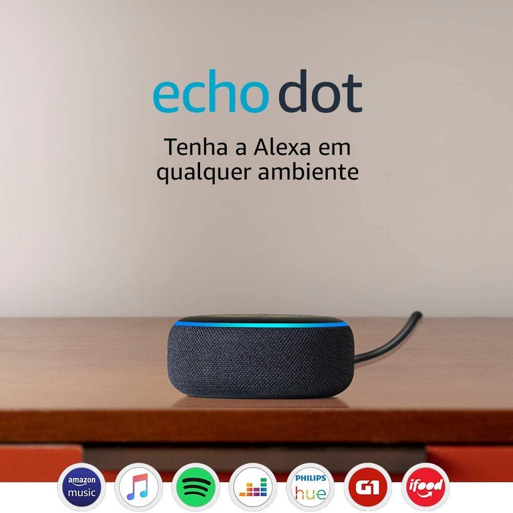 Caixa de Som Echo Dot (3ª Geração) Smart Speaker com Alexa Cor Preta