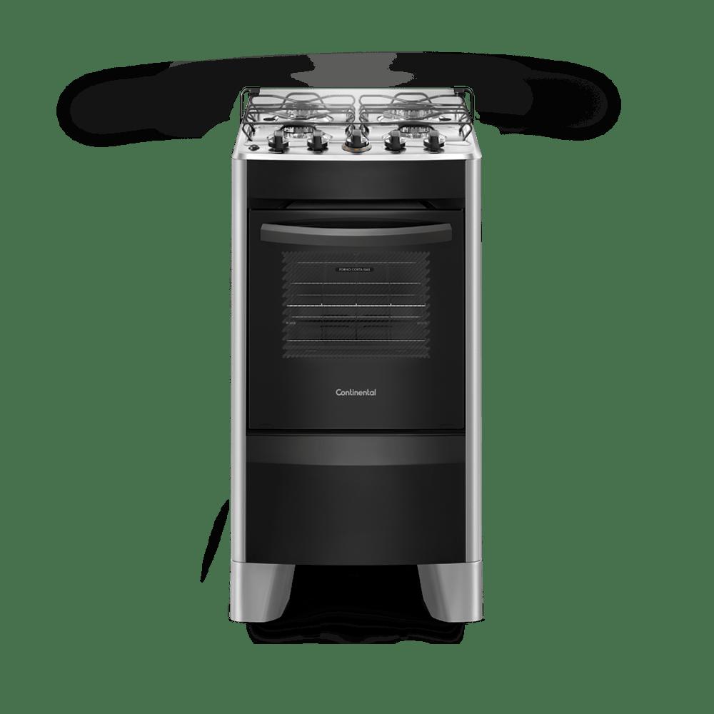 Fogão Continental 4 Bocas Acendimento Automático com Mesa Inox Compartimentada Forno 57 Litros Bivolt Prata FC4CS