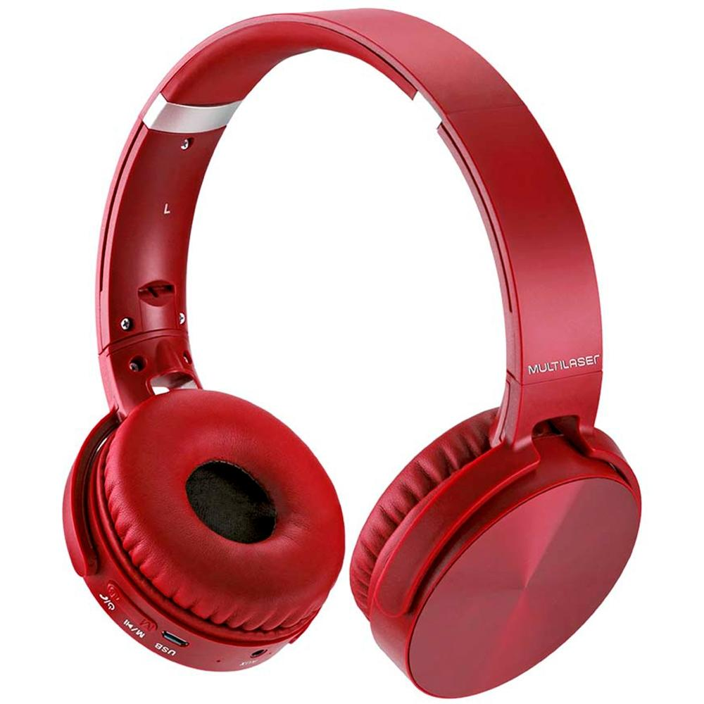 Headphone Premium Bluetooth Sd/Aux/Fm Vermelho Multilaser - PH266