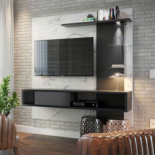 Home Suspenso com LED para TV de até 55''Polegadas Atlantico- Colibri - Calacatta / Preto fosco