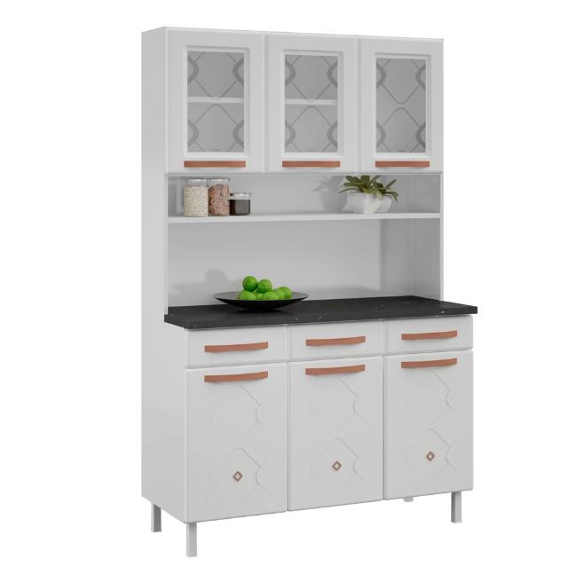 Kit Armário de Cozinha Telasul 3 Gavetas 3 Portas com Vidro Branco Mirage