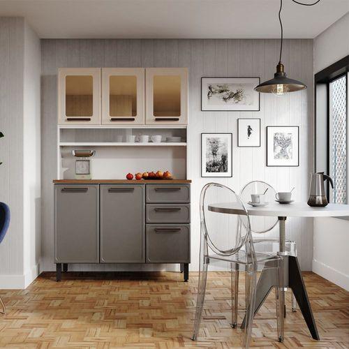 Kit Cozinha de Aço 6 Portas 2 Gavetas 7146 Origens Bertolini Areia/Grafite