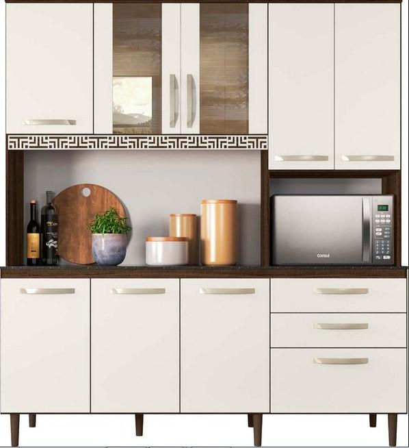 Kit Cozinha Fit 1.80 Amendoa Rústico/Off White