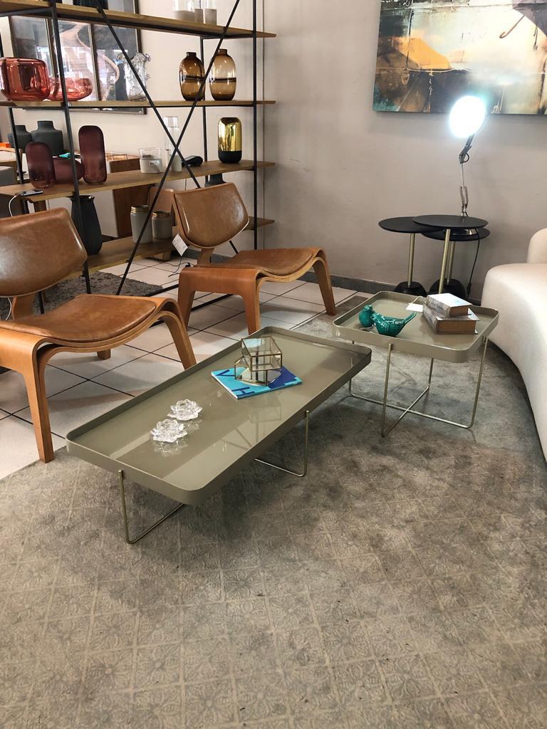Mesa de Centro Brasilia 120X56 Corbelli Fendi/Dourado