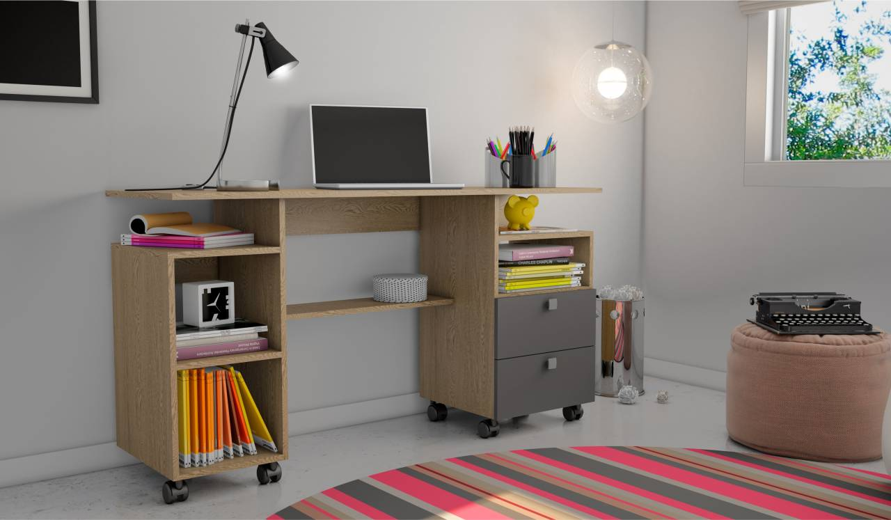 Mesa para Computador C215 Carvalho/Grafite - Dalla Costa