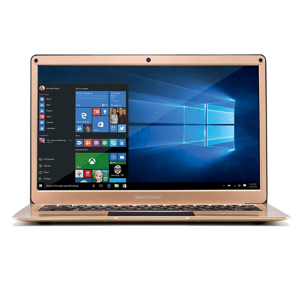 Notebook Multilaser 13.3 Pol 4GB 64GB Windows 10 Dual Core Dourado PC223