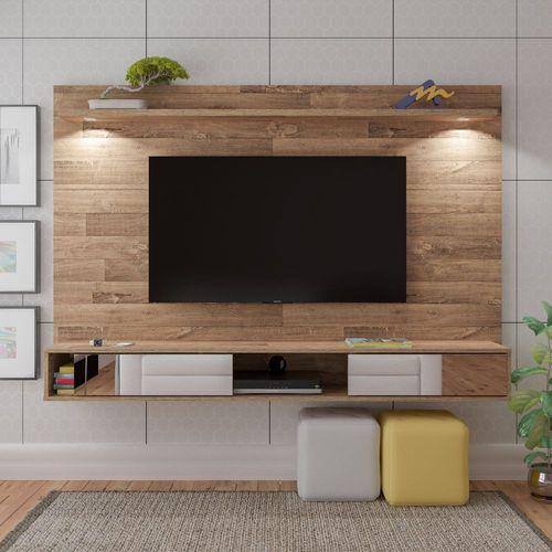 Painel para TV até 47 Polegadas 2 Portas com Espelho e LED Platinum Artely Rústico