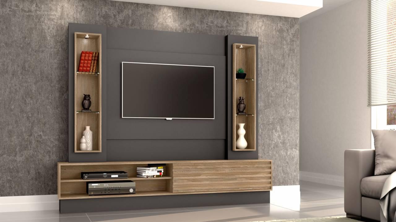 Painel Para TV Até  55 220cm 01 porta de correr e led  Acompanha suporte TV Dalla Costa