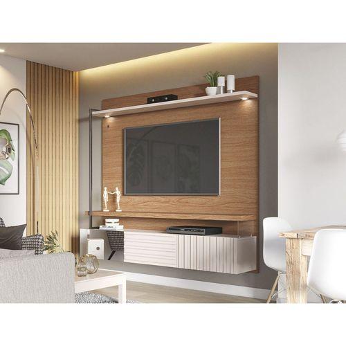 Home suspenso para TV até 70 Polegadas com LED 2 Portas Basculante e Espelho Atalaia Colibri Natura Real/Off White