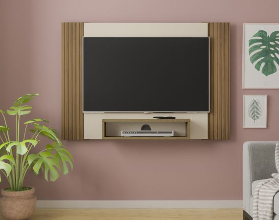 Painel para TV de até 40 Polegadas Pinho Ripado/Off White Artely Cine