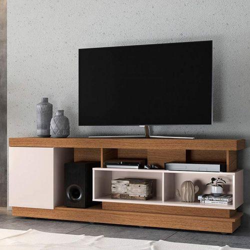 Rack Bancada para TV até 75 Polegadas Colibri 1 Porta 5 Nichos Tijuca Natura Real/Off White