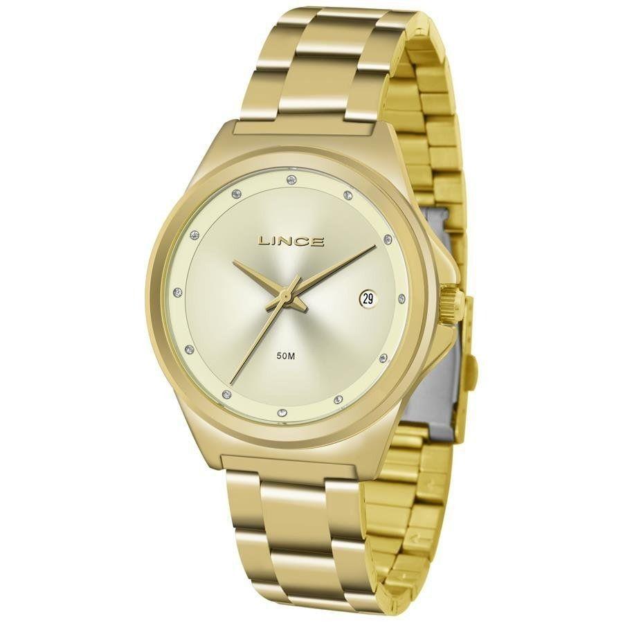 Relógio Feminino com Data Lince LRG4567L C1KX Dourado
