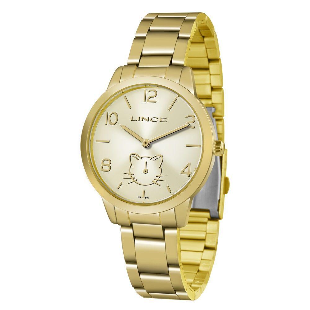 Relógio Lince Feminino com Gato LMG4574L C2KX Dourado