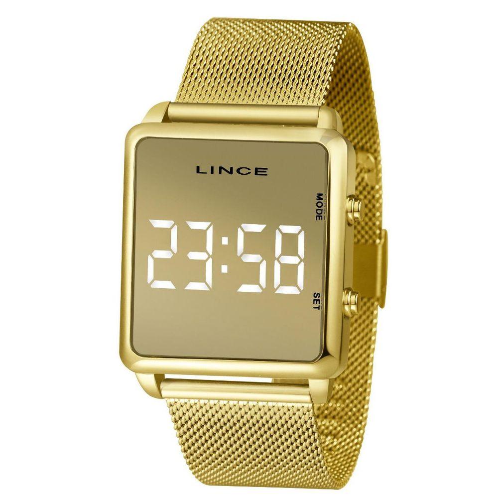Relógio Feminino Lince Digital Led Mdg4619L Bxkx Dourado