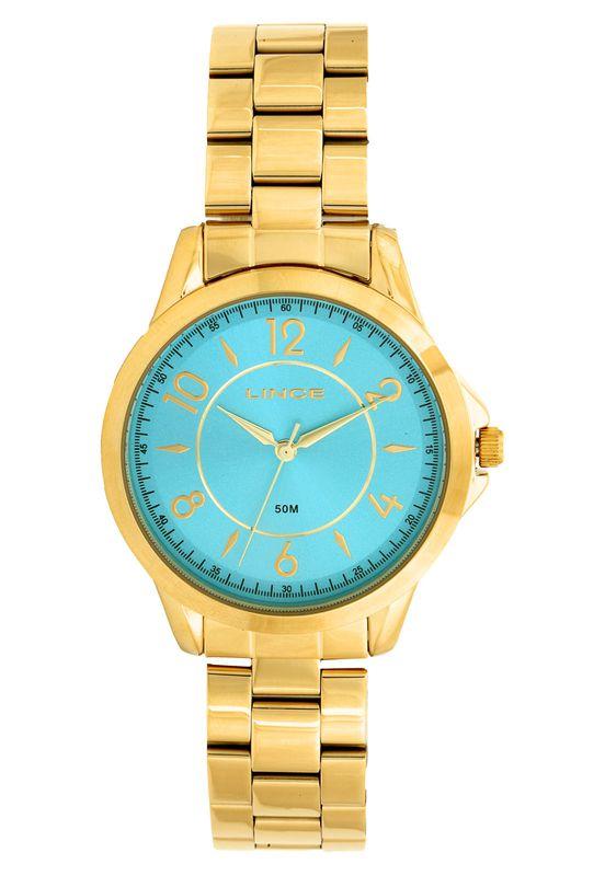 Relogio Feminino Lince Dourado Funco Azul KIT LRG45044L KU50