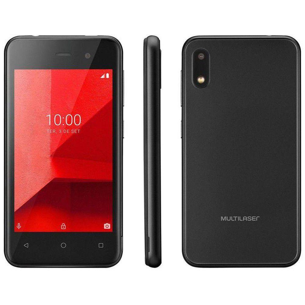 Smartphone Multilaser E Lite Preto Quad Core Android 8.1 GO 3G RAM 512MB/32GB Tela 4