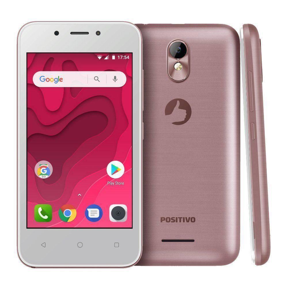Smartphone Positivo S431 TWIST MINI, Android 7.0, Dual chip, 5MP, 4.0``, Memória interna 8GB - Rosa