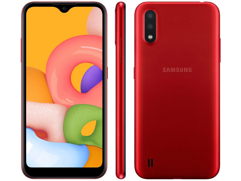 Smartphone Samsung Galaxy A01 Vermelho Quad Core 1.5GHz  Dual Chip 4G RAM 2GB/32GB Tela 5.3