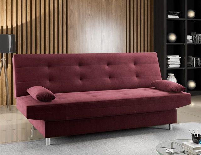 Sofá-cama Glamour Viero Móveis Vinho Suede
