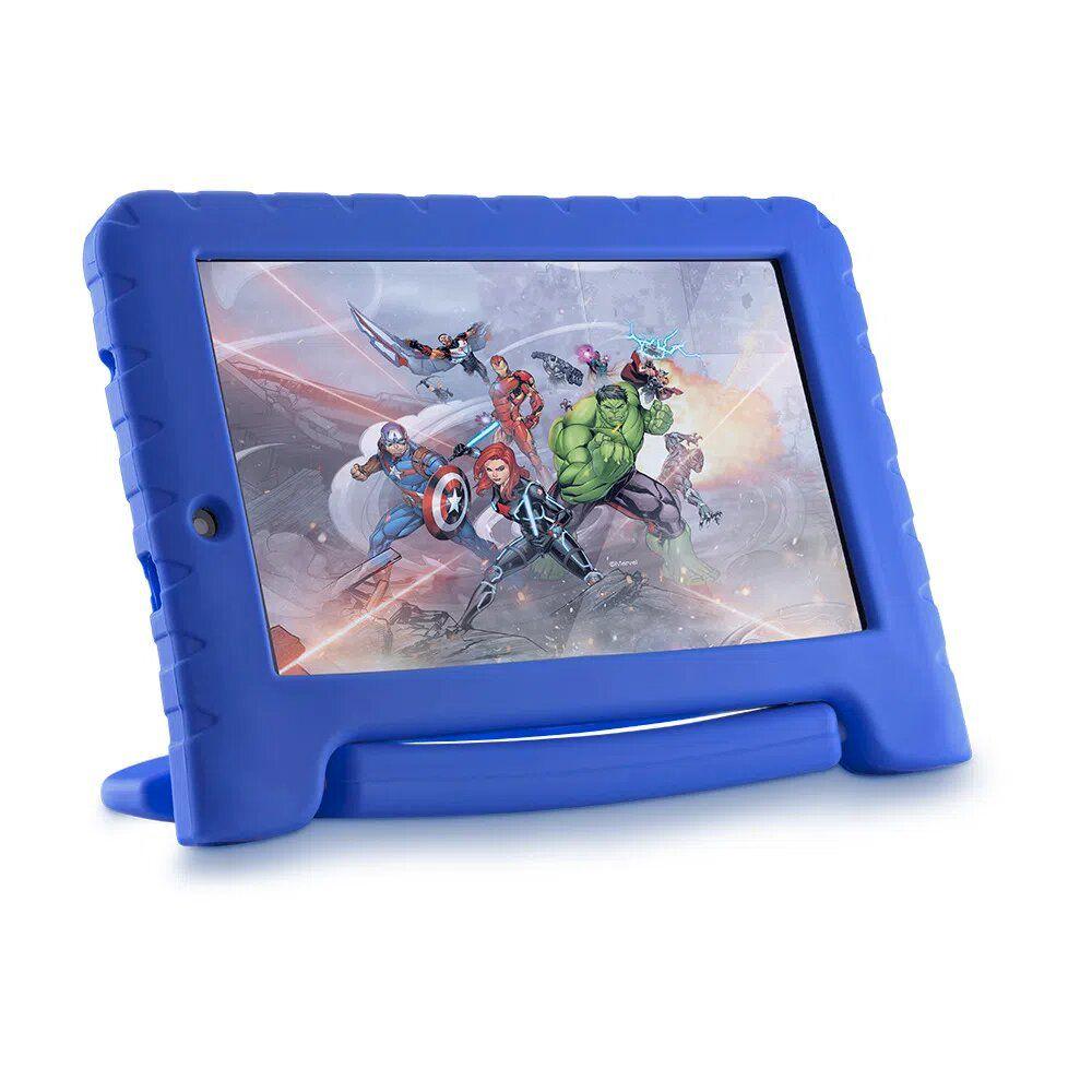 Tablet Infantil Multilaser Vingadores Plus 16GB Tela 7 Pol. Quad Core Dual Câmera Azul - NB307