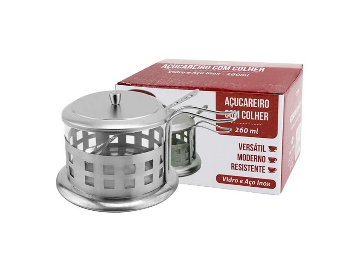 Açucareiro com colher inox/vidro - 260 ml