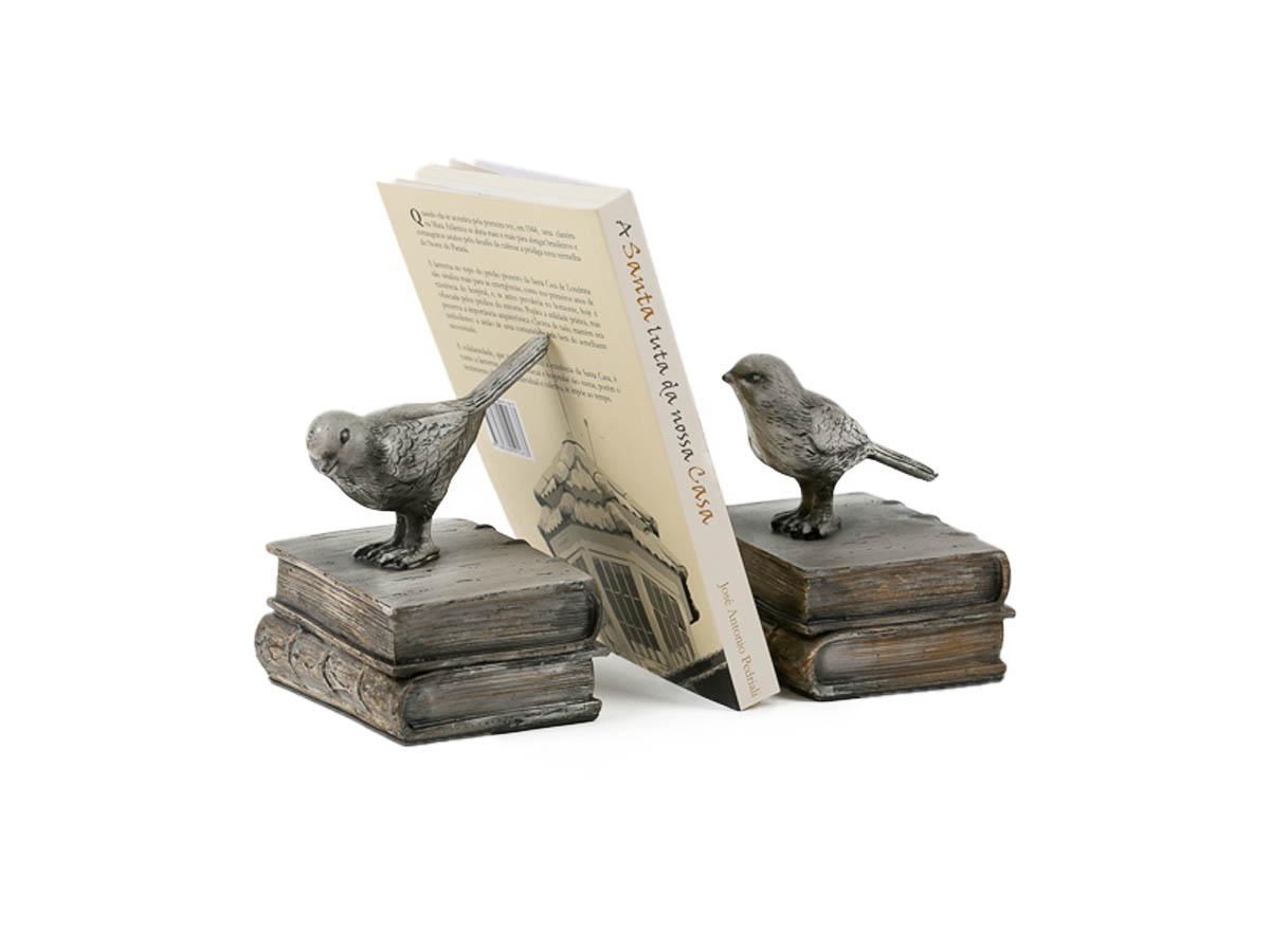 Aparador Livro Duplo Passaro Resina 14x10x12,5cm