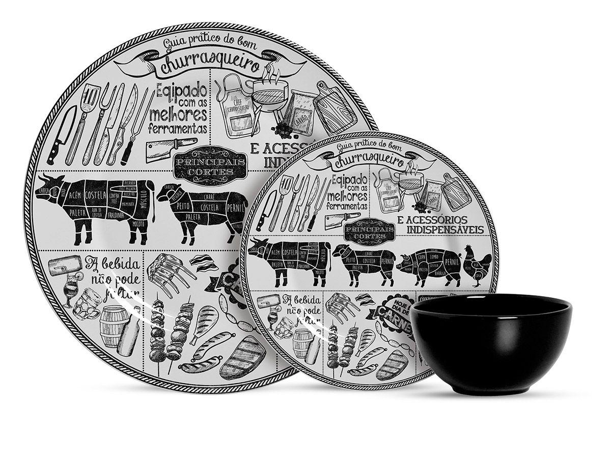 Aparelho de Jantar de Cerâmica Alleanza Churrasco 12 Peças