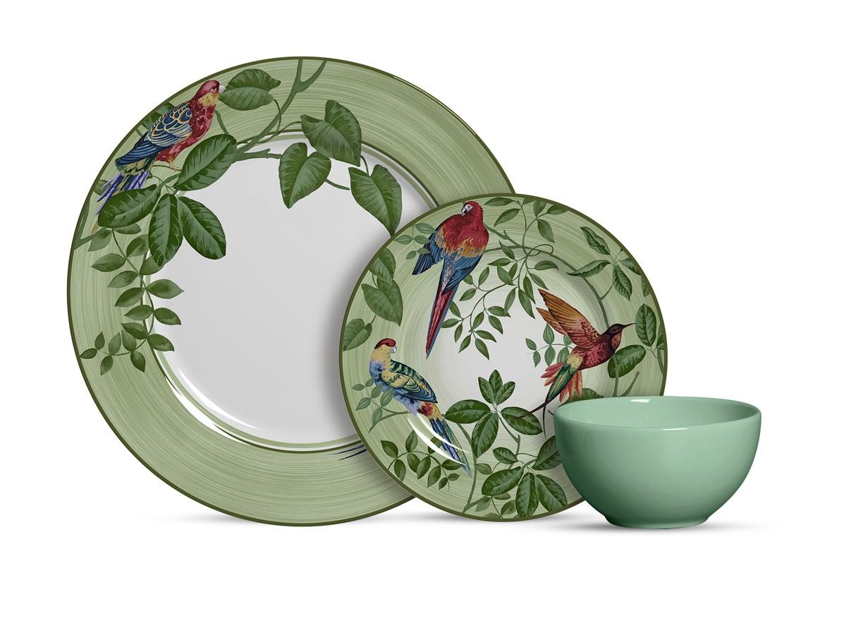 Aparelho de Jantar de Cerâmica Alleanza Birds 12 Peças