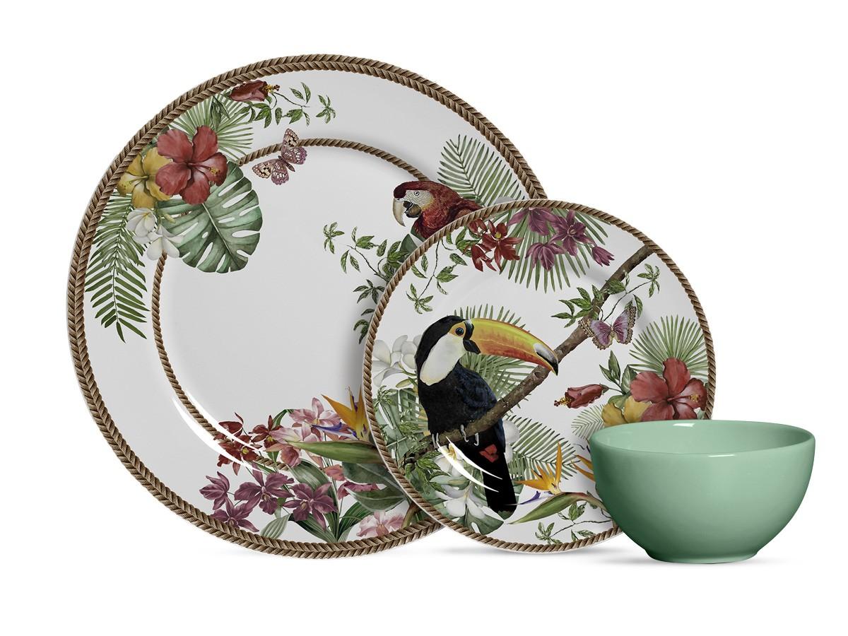 Aparelho de Jantar de Cerâmica Alleanza Tropicos 12 Peças