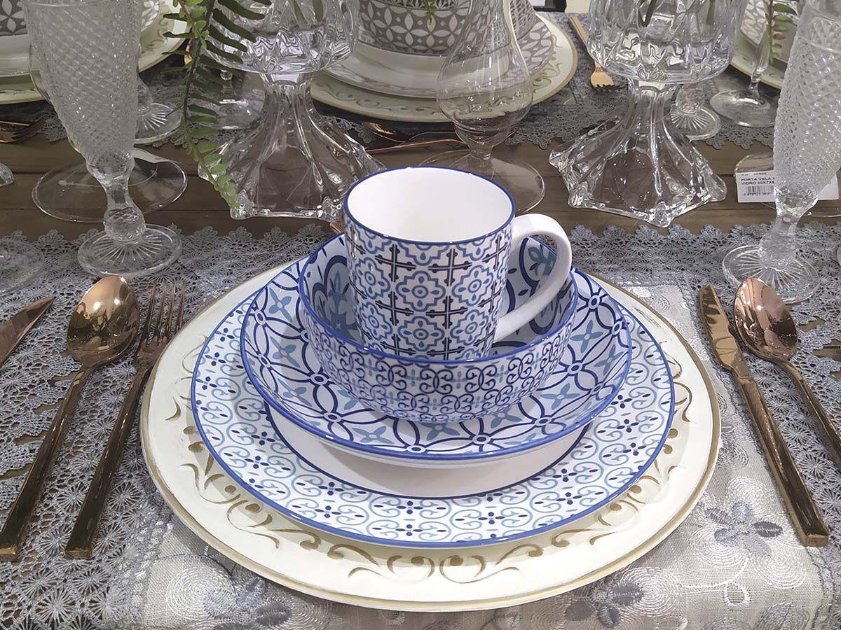 Aparelho de Jantar Porcelana Capadócia 16 peças Azul