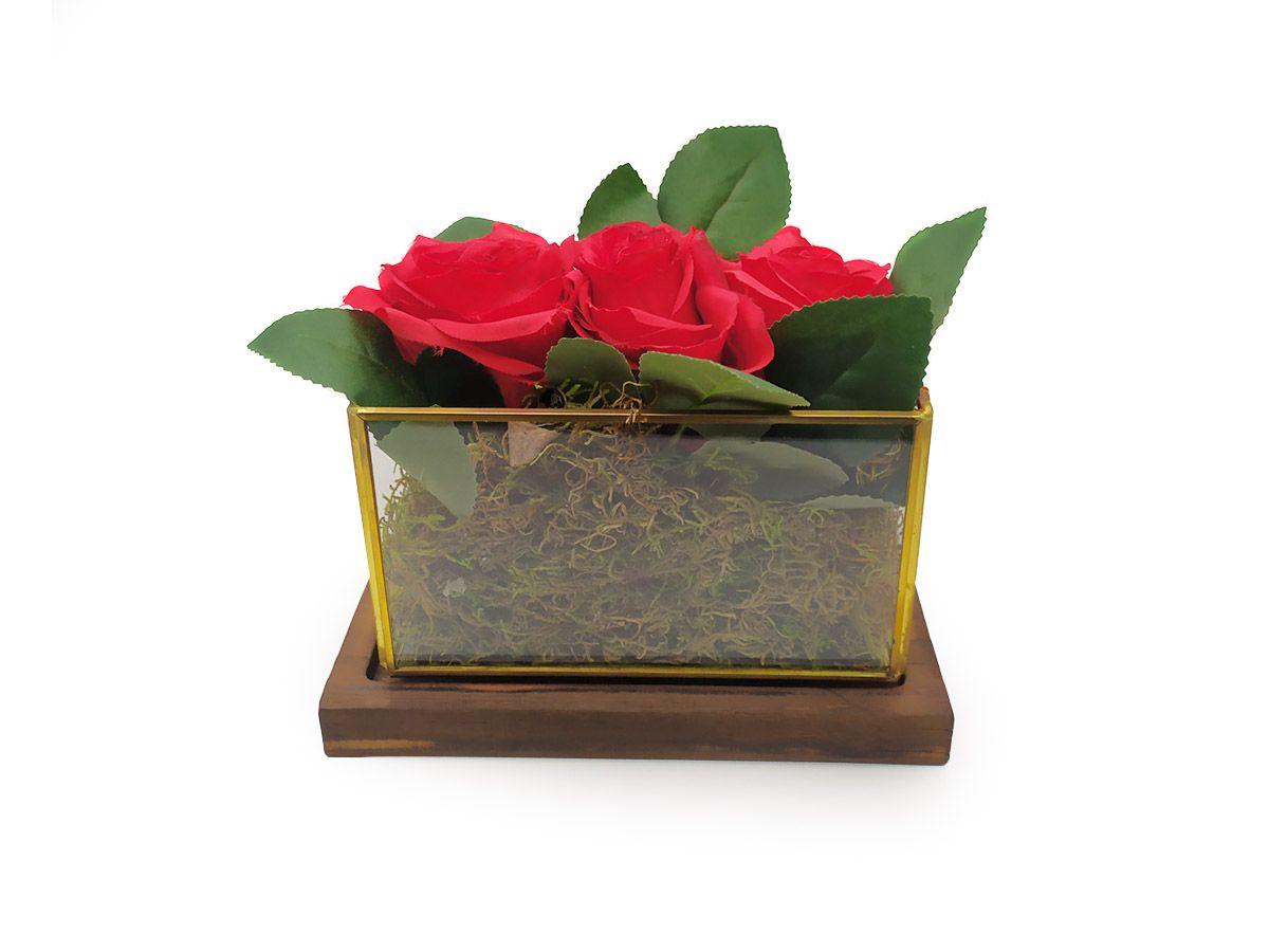 Arranjo Floral Caixa de Vidro com Base Madeira 17,5cm