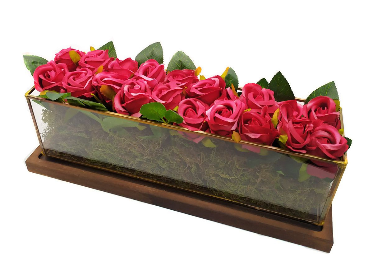 Arranjo Floral Caixa de Vidro com Base Madeira 38cm
