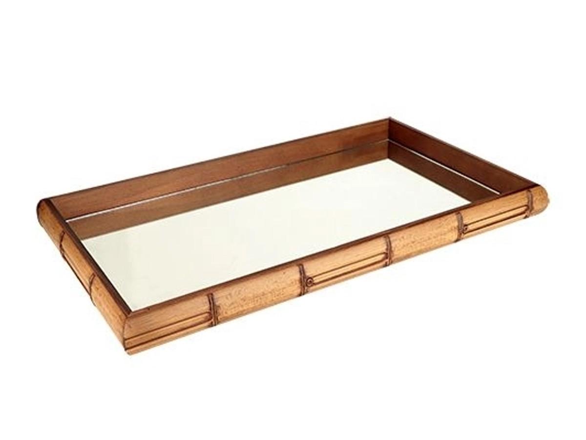 Bandeja em madeira retangular Bamboo -  46 x 26 x 4,5cm