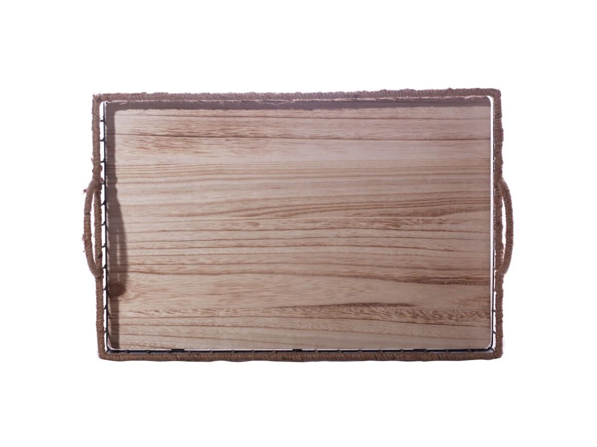 Bandeja em metal com cizal e fundo de madeira - 51 x 36 cm