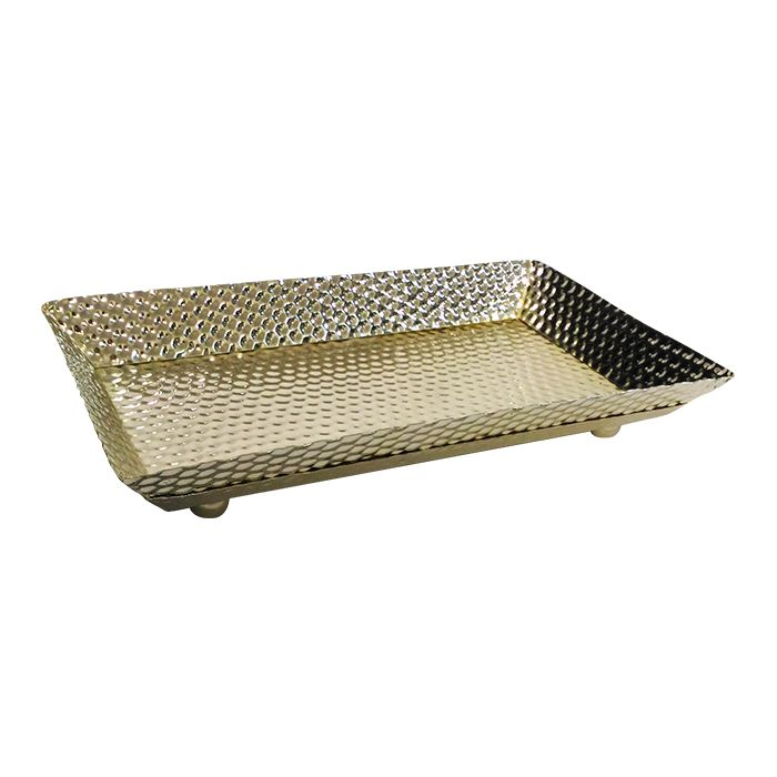 Bandeja Metal Banho Plus  Dourada 40X23Cm 5899D