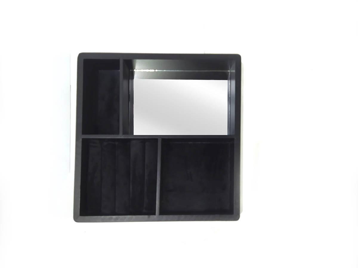 Bandeja Porta Jóias em MDF com espelho - 24 x 24 cm