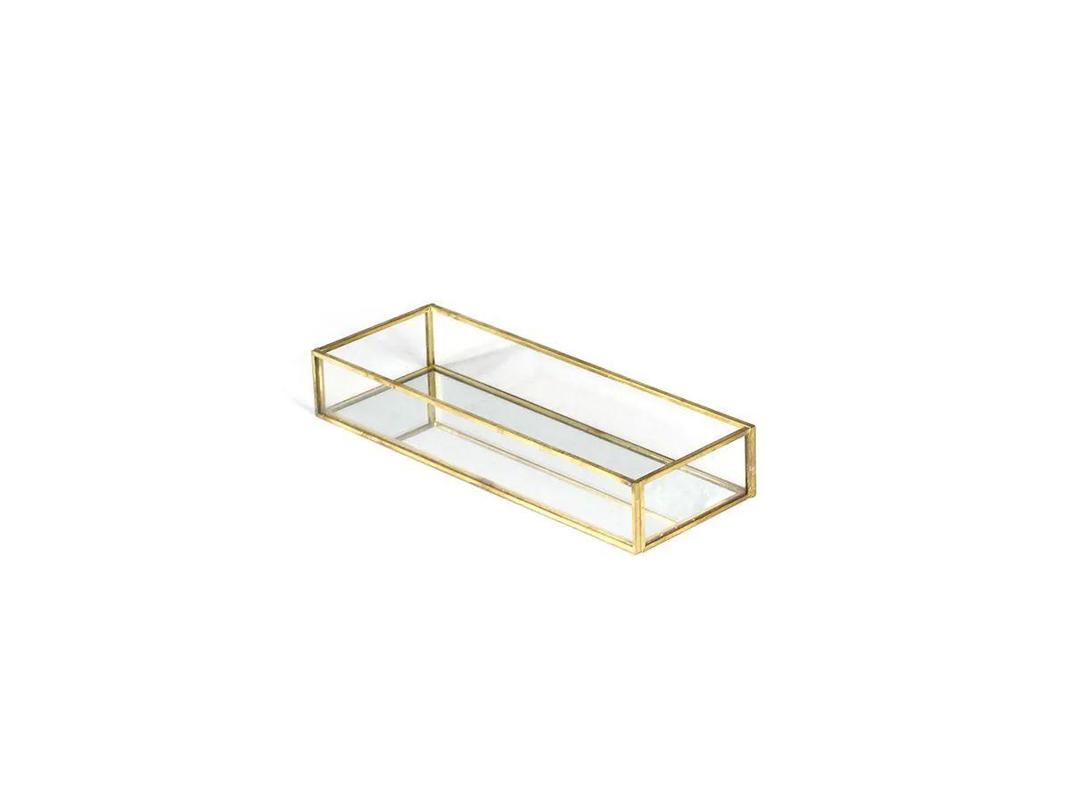 Bandeja Retangular de Vidro com Espelho 25X9CM