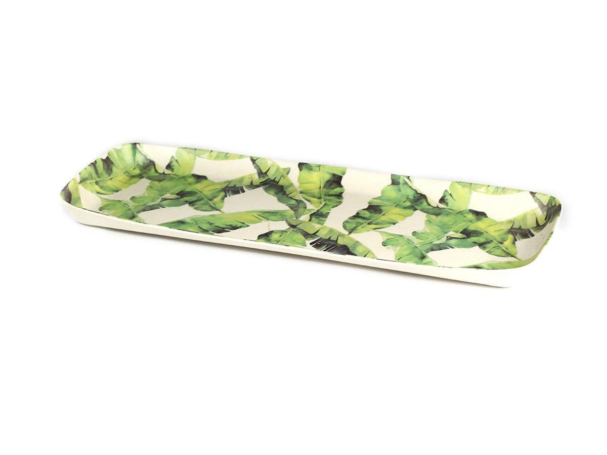 Bandeja Retangular em Fibra de Bambu estampa Bananeira - 33,5x26x4 cm