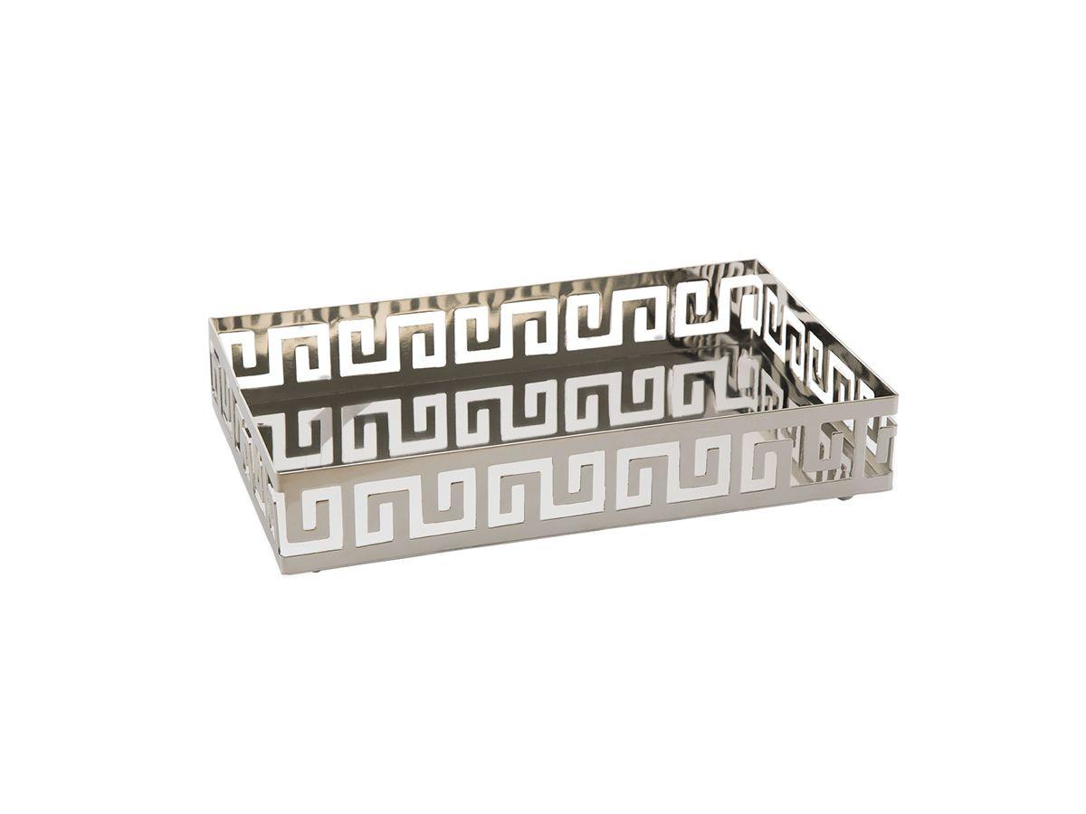 Bandeja Retangular Inox com Pé 31x19x6,5cm