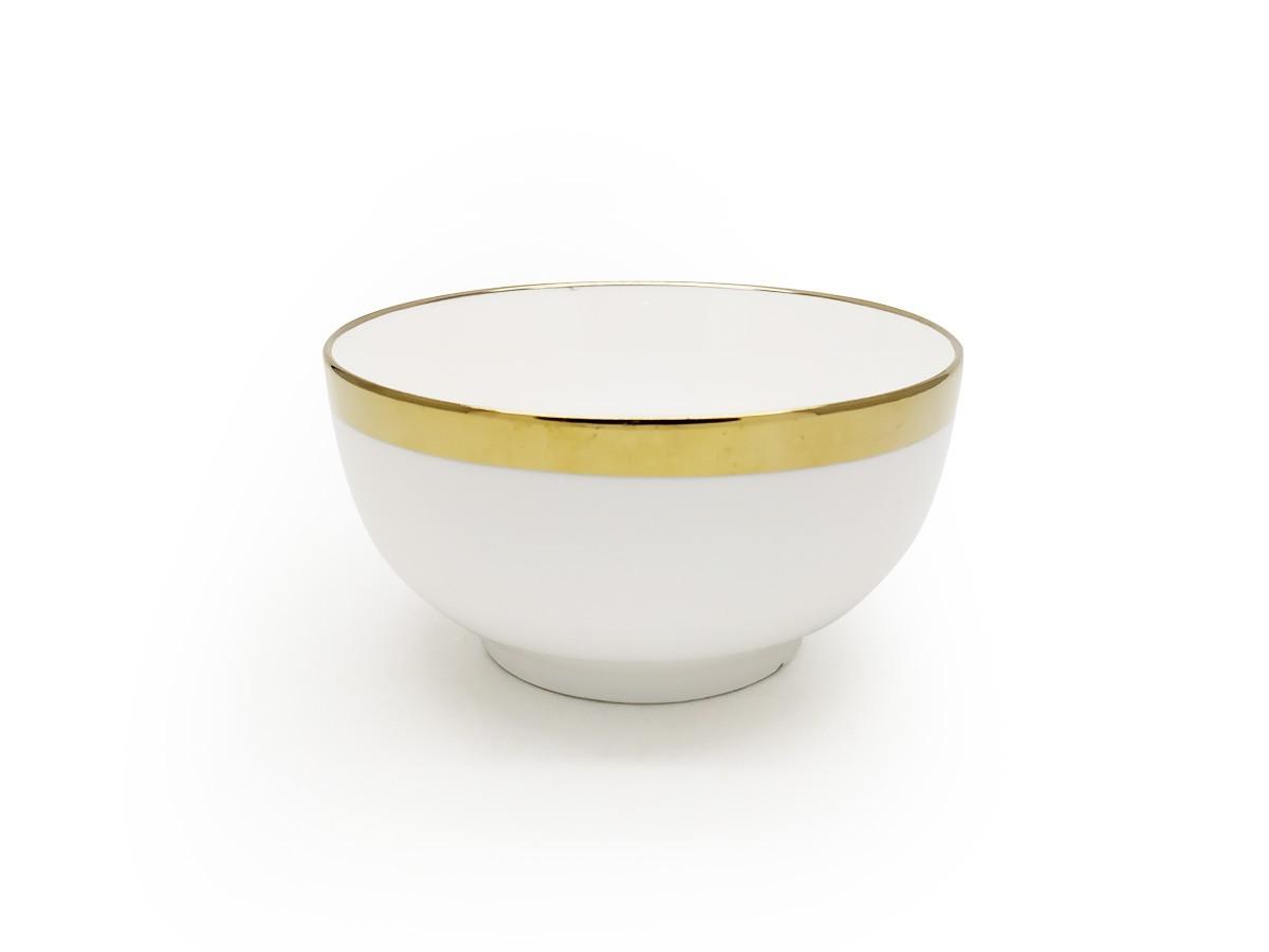 Bowl Elegance em cerâmica branca com filete dourado - 13,5 x 6,5 cm
