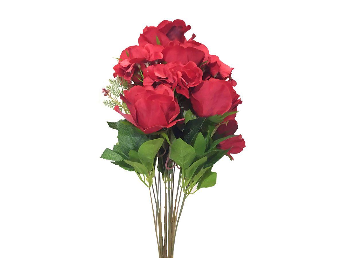 Buque com 15 Rosas Vermelhas e Hortensia 60cm