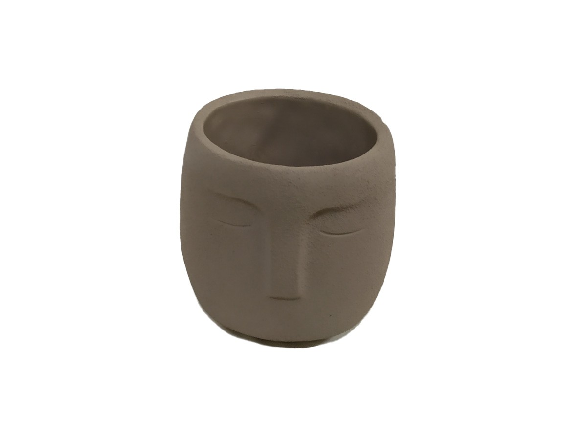 Cachepô em cimento Face cinza - 12,5 cm