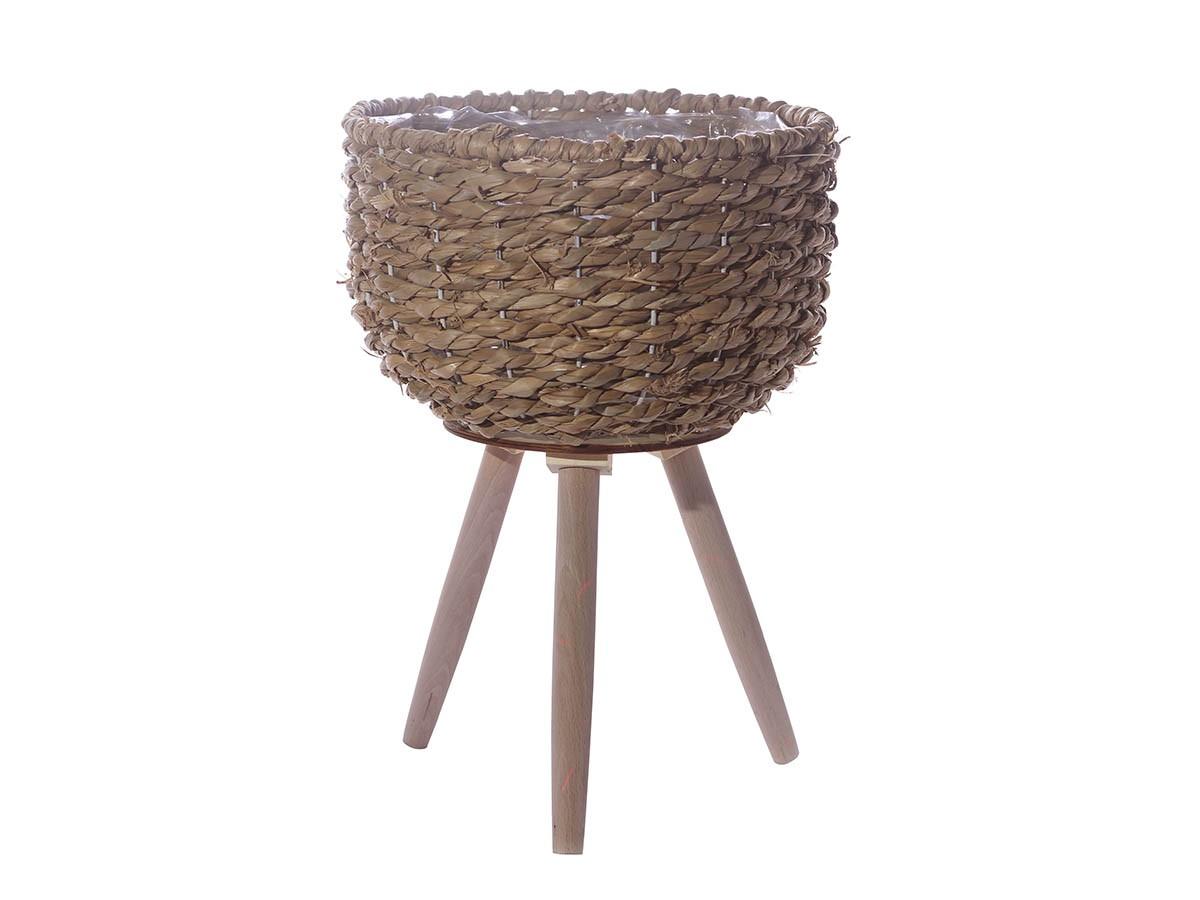 Cachepô em Palha com pés de madeira - 42,5 x 30 cm