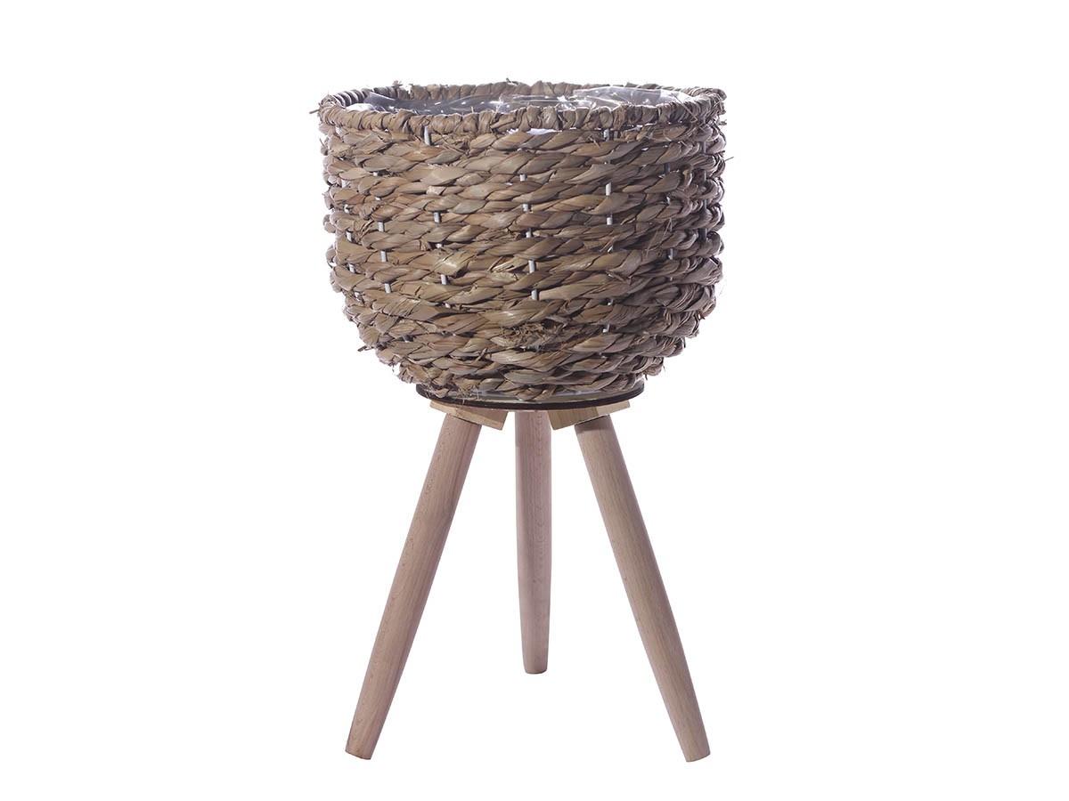 Cachepô em Palha com pés de madeira - 43 x 26 cm