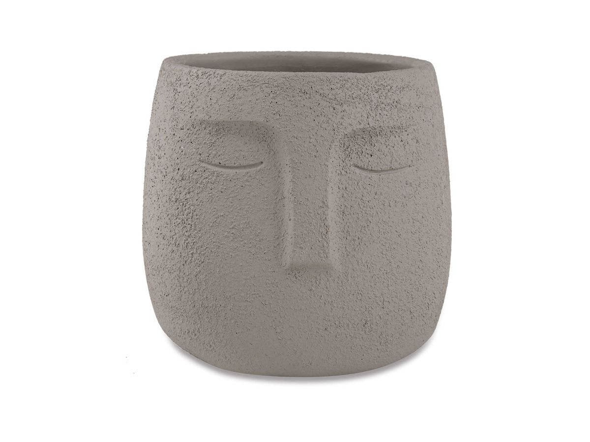 Cachepot Cimento Face Cinza 9cm
