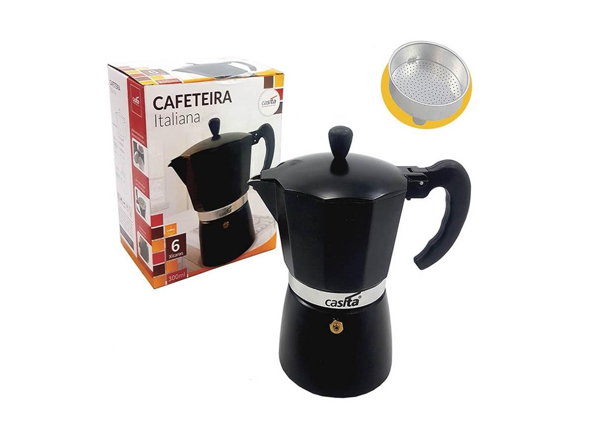 Cafeteira Italiana De Alumínio 250 ml P/ 6 Xícaras Preta