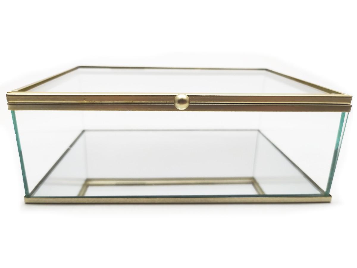 Caixa de vidro lisa com espelho e borda dourada - 18 x 13 x 06 cm